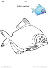 coloring a fish activity for kids. Coloring activity for kids