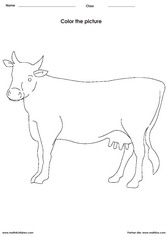 Coloring a cow activities for children - PDF