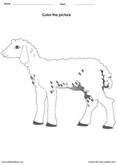 Coloring a lamb activities for children - PDF