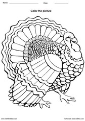 Coloring a turkey activities for children - PDF