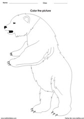 coloring a bear activity for children - PDF printable worksheet
