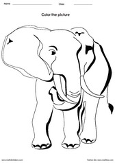 coloring an elephant activity for children - PDF printable worksheet