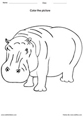 coloring a hippo activity for children - PDF printable worksheet