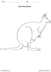 coloring a kangaroo activity for children - PDF printable worksheet