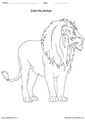 coloring a lion activity for children - PDF printable worksheet