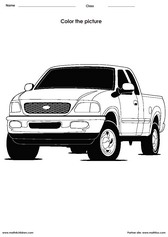 Coloring a truck activities for children - PDF printable worksheets